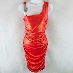 Deb Orange Glimmery Cocktail Dress L